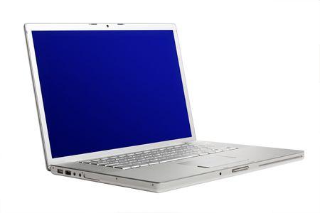 highend: Alluminio high-end portatile con schermo blu Archivio Fotografico