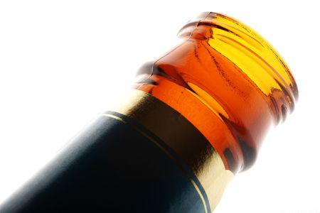 bottleneck: beer bottleneck isolated on white in backlit Stock Photo