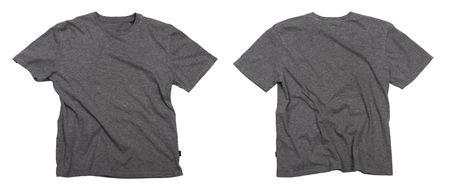 Photograph of wrinkled blank grey t-shirt - front and back view, isolated on white background.