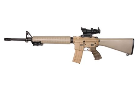 airsoft: M16A4 assault rifle sand-colored with riflescope. Isolated on a white background. Studio shot.