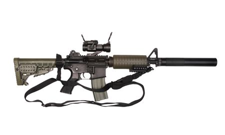 paramilitary: M4A1 custom rifle for paramilitary contractors with red-dot sight, silincer and 3-point sling. Isolated on white background. Studio shot.