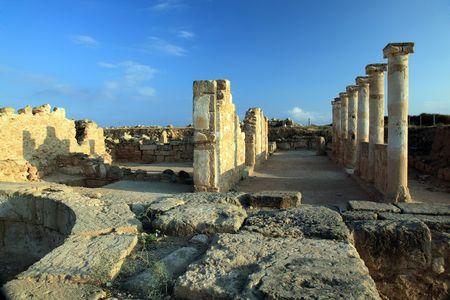 archaeological: Temple columns. Kato Paphos Archaeological Park. Paphos, Cyprus.