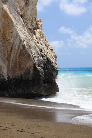 tou: Rock in a neighborhood of Petra Tou Romiou, Cyprus. Stock Photo