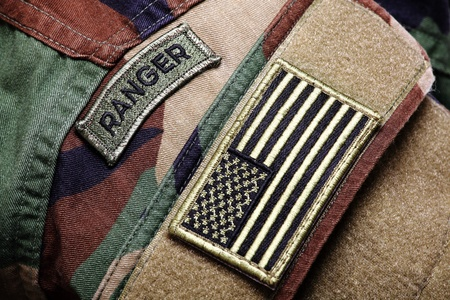 Army BDU (woodland camo uniform) with ranger patch and US flag. photo