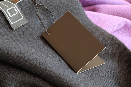 Label (price tag) on a wool clothing photo