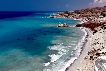 Sea shore. Petra Tou Romiou (near Paphos), view of the birthplace of Aphrodite. Cyprus.