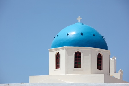 Blue dome of Panagia of Platsani church of Caldera Square in Cyclades Islands, Santorini, Greece. Stock Photo - 14805431