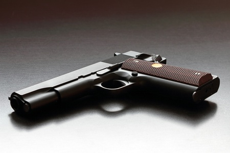 45 caliber: Legendary US  45 caliber 1911 handgun  Classic model  Studio shot  Stock Photo