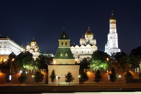 Moscow Kremlin series  View on a group of Ortodoxal churches  Annunciation Cathedral, Cathedral of the Archangel Michael and The Ivan the Great Bell Tower  Moscow, Russia Stock Photo - 15111150