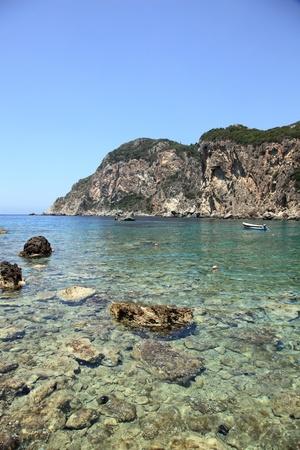 Mediaterranean landscape  Paleokastritsa, Corfu island, Greece Stock Photo - 15111154