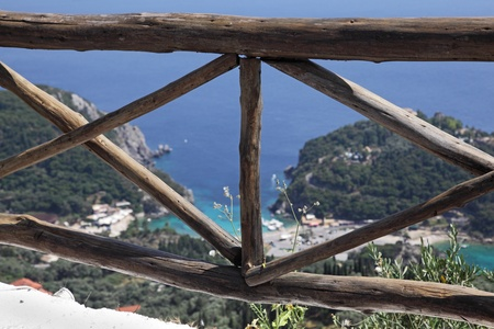 corfu: Greek wooden cliff fence  Near Paleokastritsa, Corfu Island, Greece