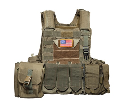 drab: U.S. Army tactical bulletproof vest. Isolated on a white background. Stidio shot