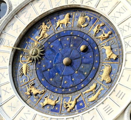 Astronomical Clock Tower (Torre dellOrologio) Details. St. Marks Square (Piazza San Marko), Venice, Italy. Tilt view. photo