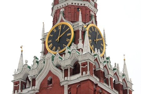 spassky: Clock of Spassky Tower, Kremlin, Red Place, Moscow, Russia