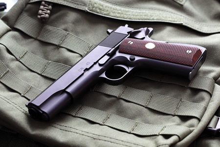 45 caliber: Semi-automatic M1911 Mark IV Series 80 .45 caliber pistol Stock Photo