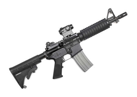 ar: M4A1 CQBR, Mk18 Mod 0 tactical carbine with micro  red dot  sight  Isolated on white Stock Photo