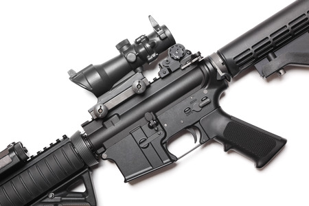 ar: The Black Rifle  Body of AR-15 carbine on white close-up  Studio shot