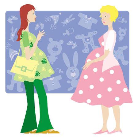 padres hablando con hijos: Dos se�oras hablando embarazo