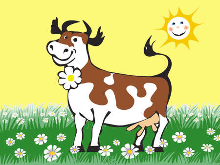 beautiful cow: Happy fun cow in the meadow of daisies