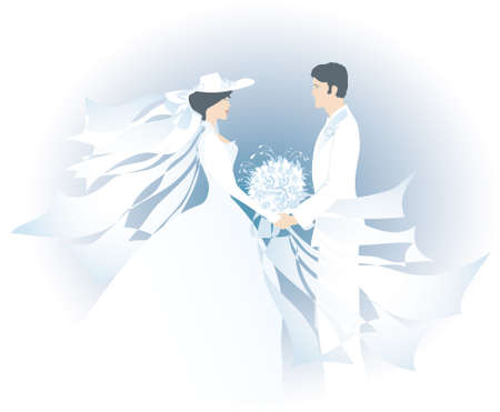 romatic: White bride with hat and bridegroom