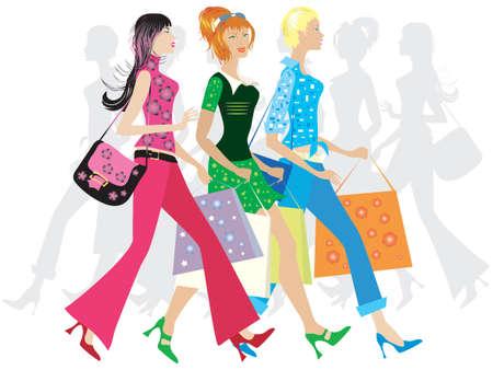 chicas de compras: Tres ni�as de compras  Foto de archivo