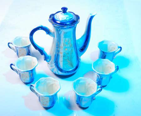 Porcelain tea set and biscuit   photo