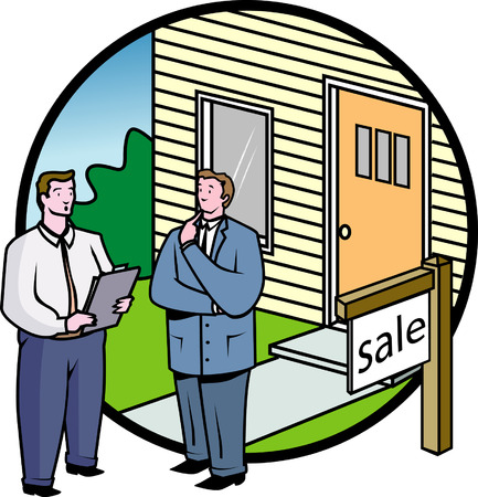 buy house: Business people sale or buy house