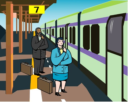arrive: Business people trip by train Illustration