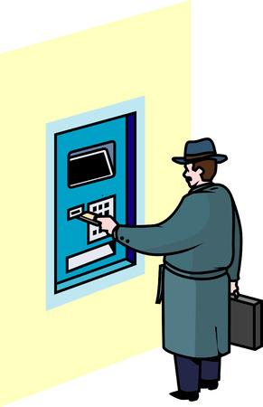 dispense: Hombre retirar dinero en efectivo dispensar