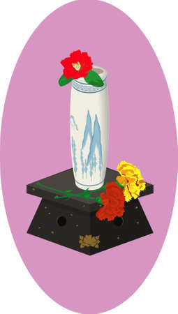 china vase with flowers Vector