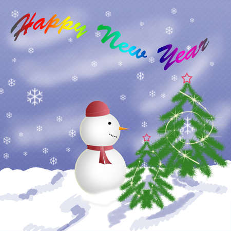 Congratulation new year image with snowman Stock Photo - 3780364