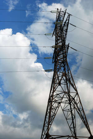 volts: High-voltage tower over cloudy sky