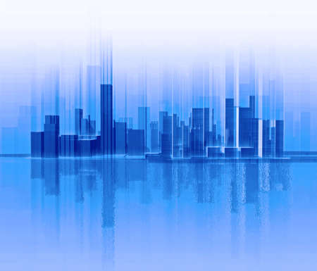 which: Silhouette of city which is similar to a sound wave Stock Photo