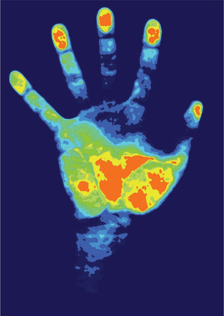 biometric hand scan - id detection Vector