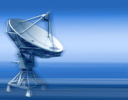 The parabolic aerial of space communication on a blue background Stock Photo