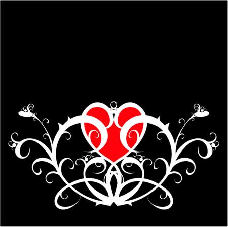 wśród: Czerwony serca kwiat wśród ozdoba