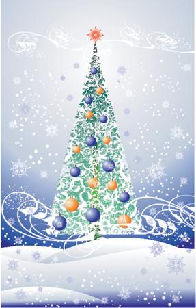 floral christmas tree Illustration