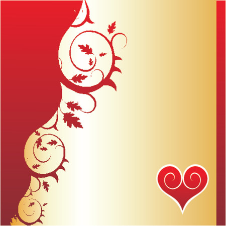 Floral background with heart in a corner Illustration
