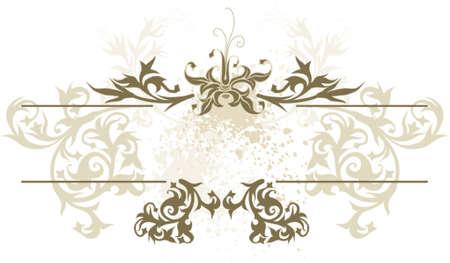 vintage emblem - flowers ornament on grunge background