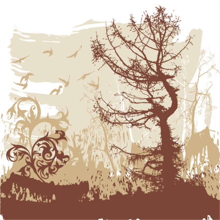 Silhouettes of trees and flying birds on a grunge background Look similar pictures in my portfolio