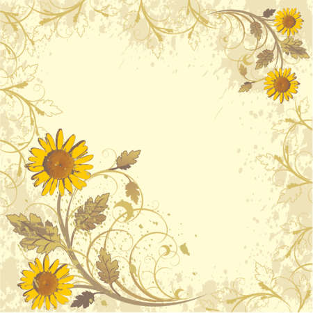 flowers ornament on yellow grunge background (camomiles)