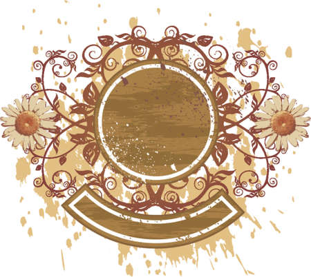 vintage emblem - flowers ornament on grunge background (camomiles) Vector