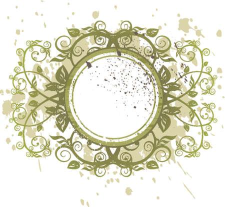 vintage emblem - green grunge flowers ornament
