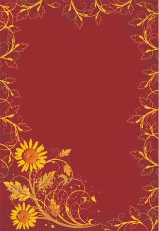gold vintage camomiles on red grunge flowers background Vector