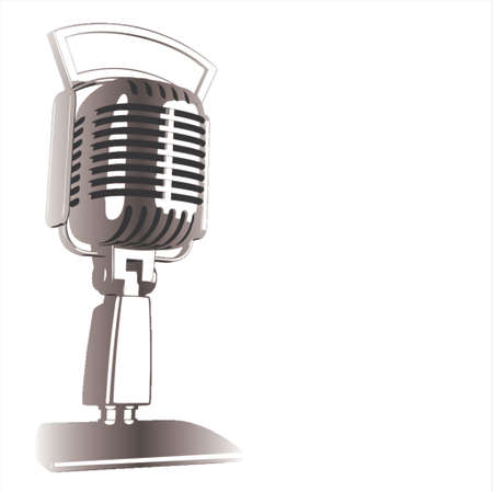mike: Vintage Microphone - vector Illustration