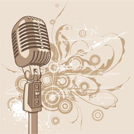 vintage microphone: vector vintage microphone