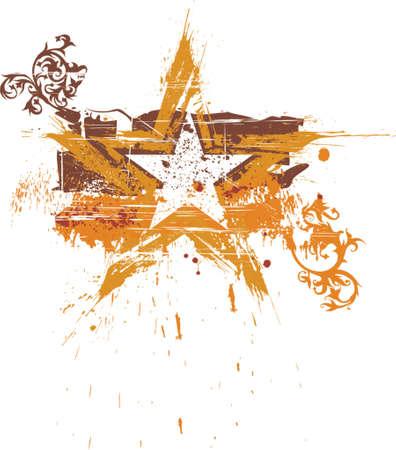 floral grunge star Illustration