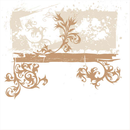 calligraphy flowers ornament on grunge background Stock Vector - 937476