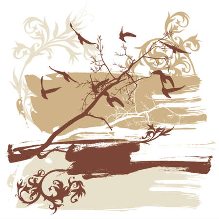 Silhouettes of trees and flying birds on a grunge background Illustration