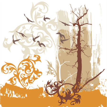 Silhouettes of trees and flying birds on a grunge background Stock Vector - 937480